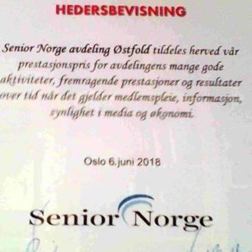 Hedersbevisning til SENIOR NORGE Østfold!